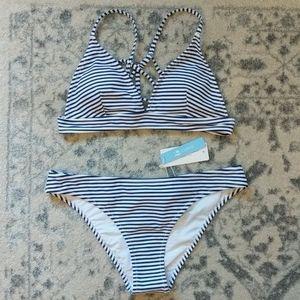 Cupshe Blue & White Stripe Bikini Size M